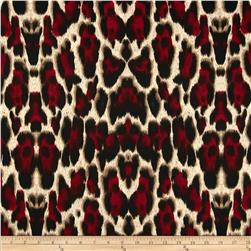 Venice Stretch ITY Jersey Knit Cheetah Tan/Red/Black Fabric