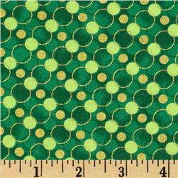 All Wrapped Up Metallic Geo Circles Dark Green