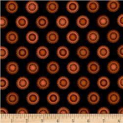 Pumpkin Party Flannel Stitched Circles Orange