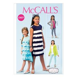 McCall's Girls' Cardigan Dresses Leggings and Headband Pattern