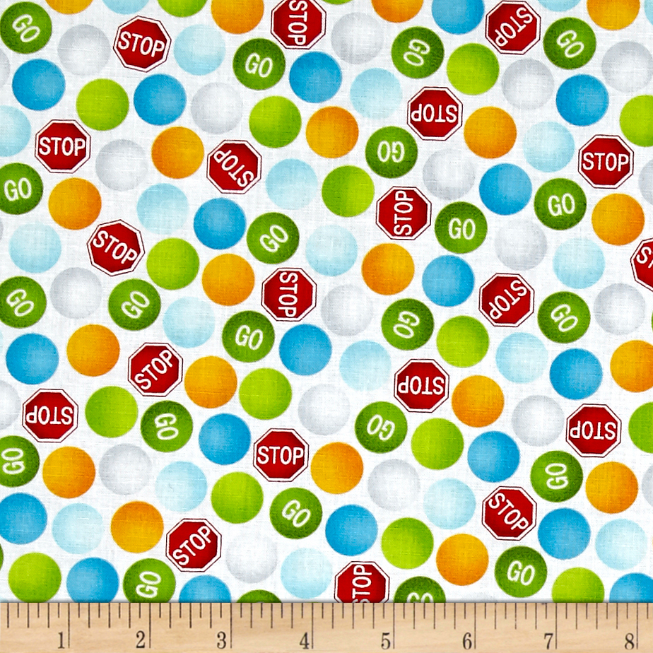 Be My Hero Stop And Go Dots White Fabric 0476570