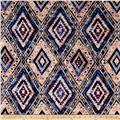 Rayon Jersey Knit Tribal Diamond Shape Cobalt/Peach