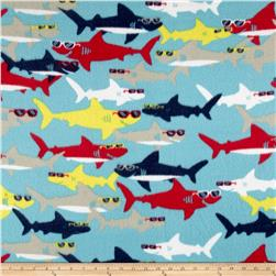 Polar Fleece Sharks Turquoise
