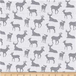 Shannon Premier Prints Embrace Double Gauze Deer To Me Steel
