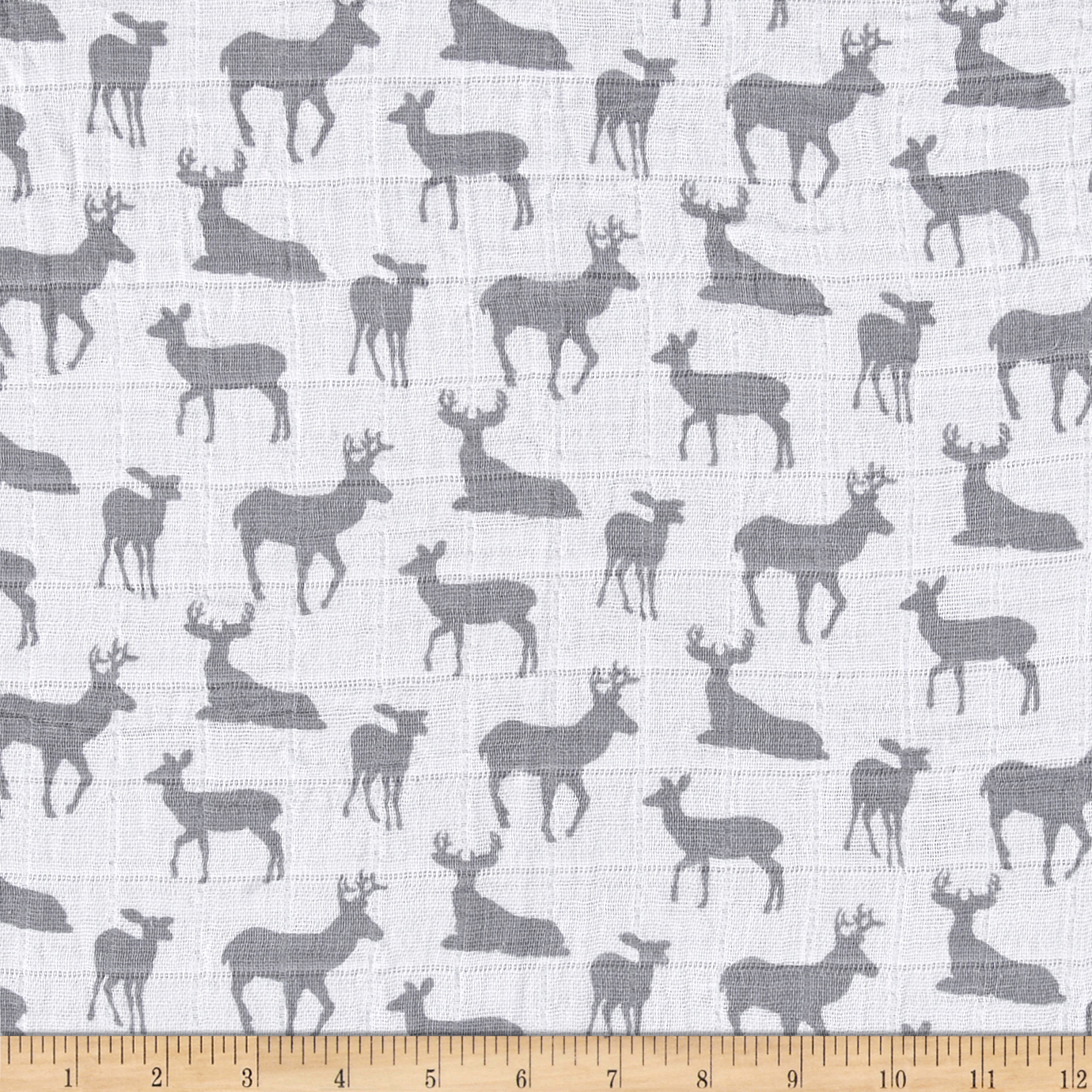 Image of Shannon Premier Prints Embrace Double Gauze Deer To Me Steel Fabric