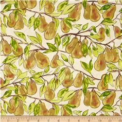 Michael Miller Valencia Pear Branch Cream Metallic