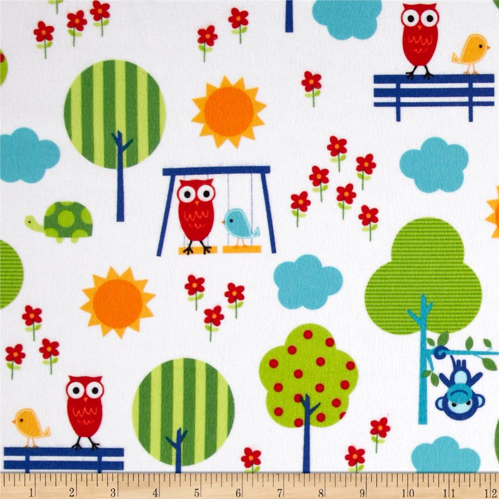 Urban Flotologie Flannel Animals In Trees Rainbow Fabric By The Yard