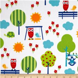 Urban Flotologie Flannel Animals In Trees Rainbow Fabric
