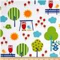 Urban Flotologie Flannel Animals In Trees Rainbow