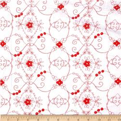 Embroidered Eyelet Scrolls White/Red