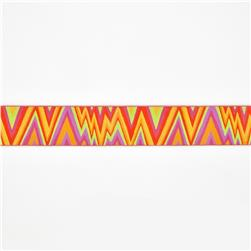1 1/2'' Kaffe Fasset Flame Stitch Ribbon Orange/Pink