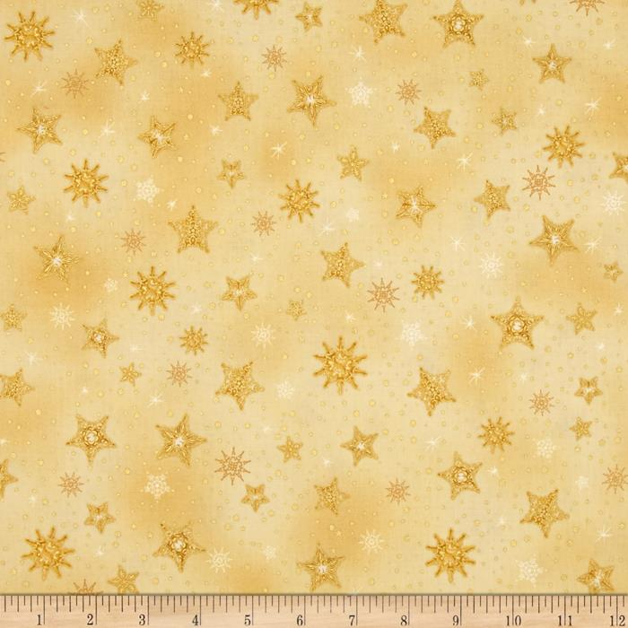 Kaufman Radiant Holiday Metallic Stars Gold