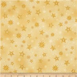 Robert Kaufman Radiant Holiday Metallic Stars Gold