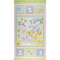 Buttercup Babies Flannel Panel Spring Green