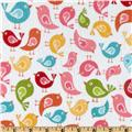 Riley Blake Hello Sunshine Flannel Hello Birds White