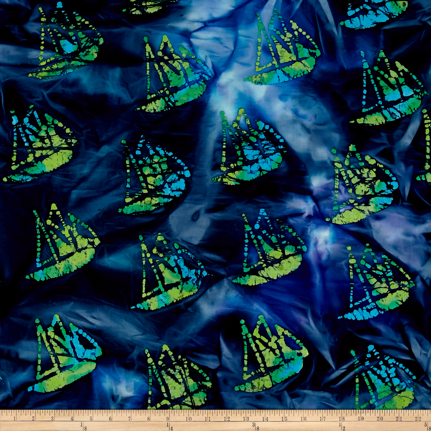 Indian Batik Ocean Grove Sail Boat Navy/Blue/Grn Fabric by Textile Creations in USA