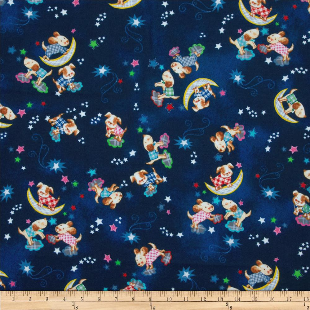 Fabri-Quilt Cuddle Flannel Night Sky Dogs Blue