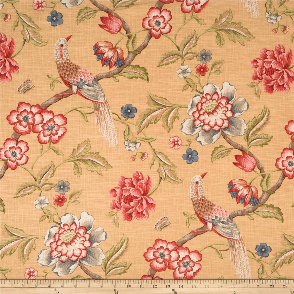Jaclyn Smith Anna Floral Blend Crimson Fabric By The Yard