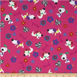 Fabri-Quilt Cuddle Flannel Dogs Woof Pink Fabric
