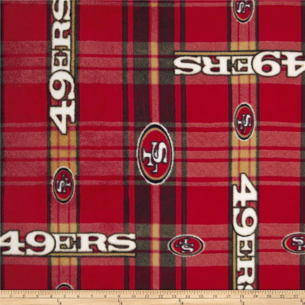 NFL San Francisco 49er's Plaid Fleece Red/Yellow