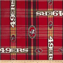 NFL Fleece San Francisco 49ers Plaid Red/Yellow Fabric