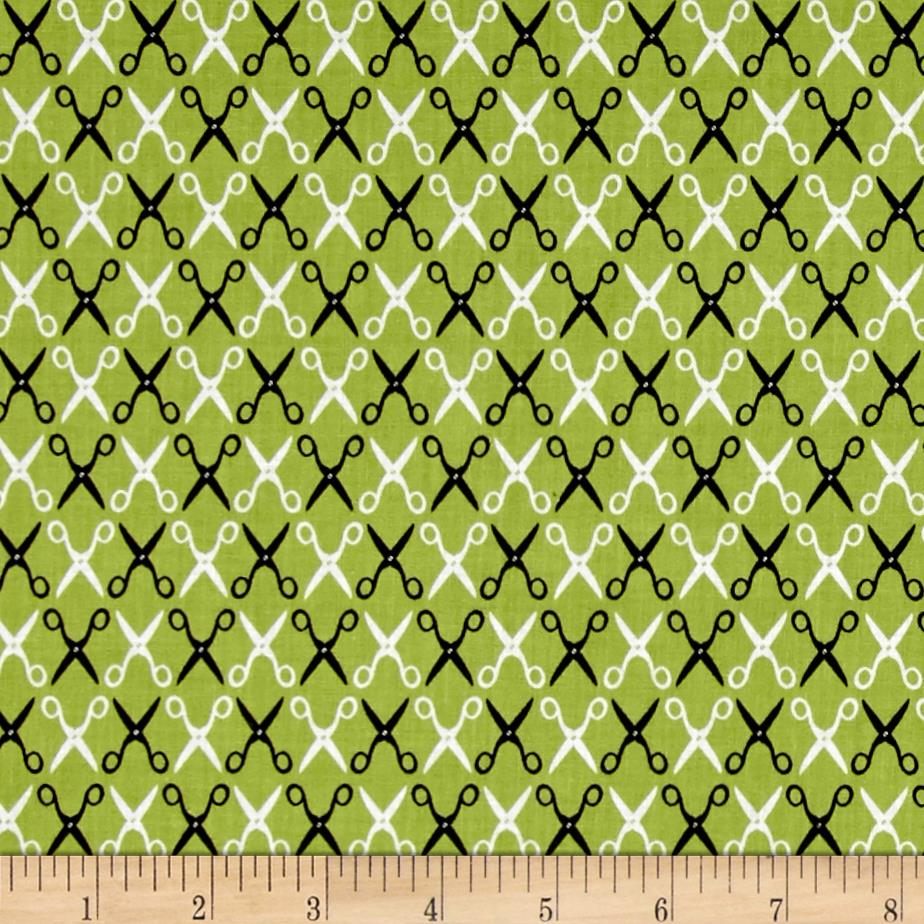 Kaufman Sewing Studio 2 Scissors Trellis Avocado