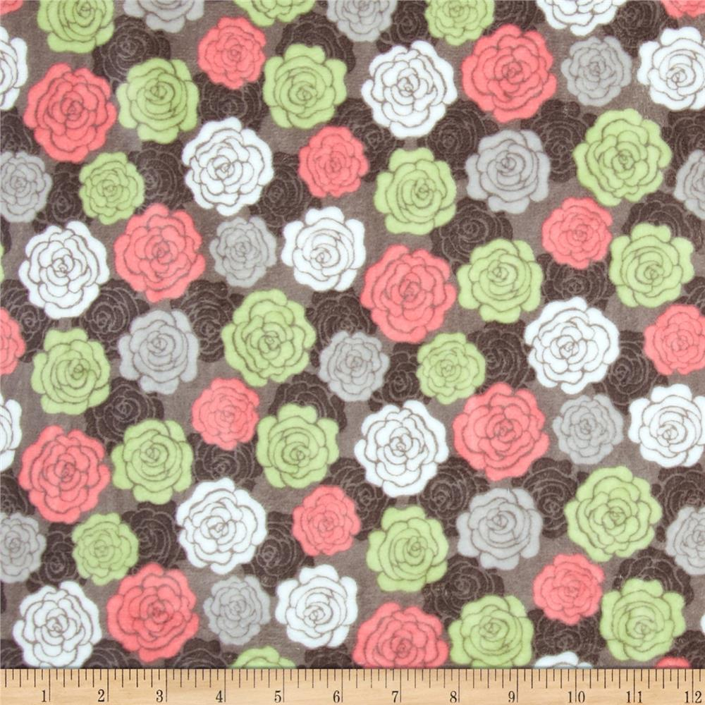 Shannon Minky Cuddle Romance Rose Bloom Charcoal