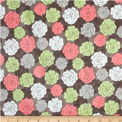 Minky Cuddle Romance Rose Bloom Charcoal Fabric