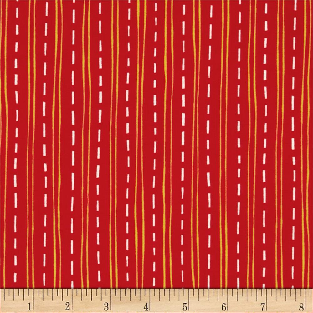Construction Zone Road Stripes Red