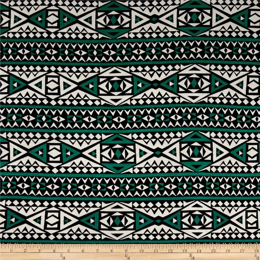 Rayon Jersey Knit Diamond Tribe - Green/White Fabric