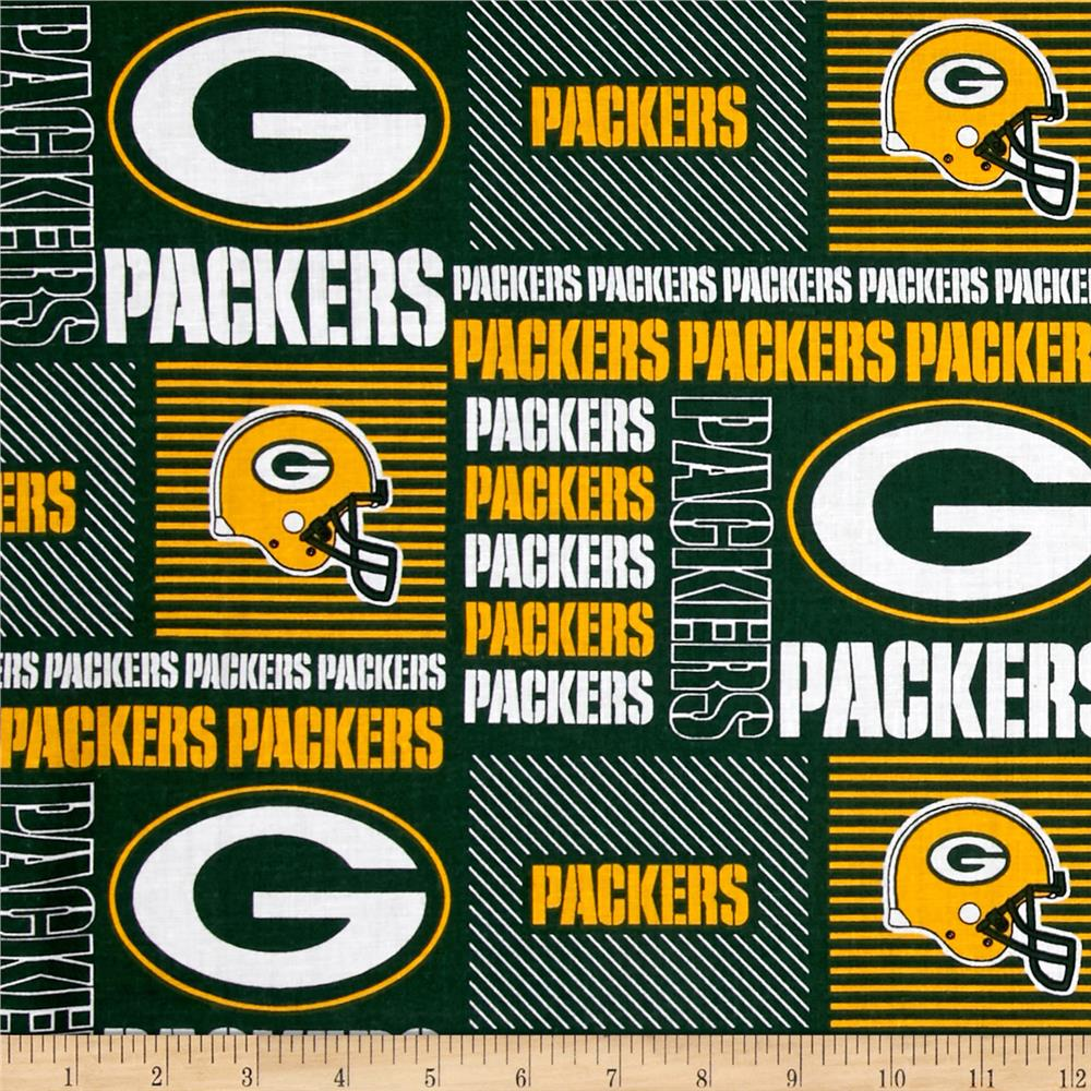 NFL Cotton Broadcloth Greenbay Packers Patchwork Green/Yellow