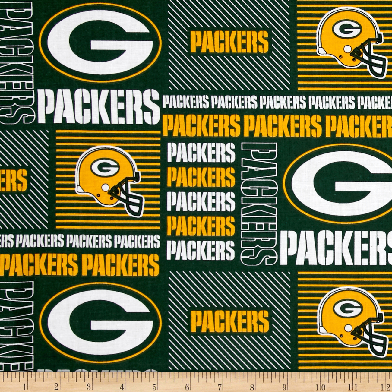 NFL Wide Cotton Broadcloth Green Bay Packers Patchwork