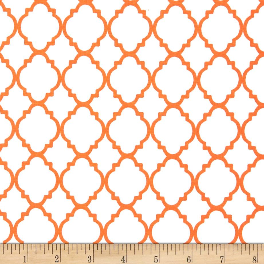 Quatrefoil White/Orange - Discount Designer Fabric - Fabric.com