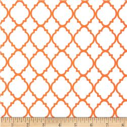 Quatrefoil White/Orange Fabric
