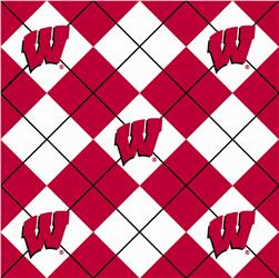 Collegiate Fleece University of Wisconsin Argyle Red/White Fabric
