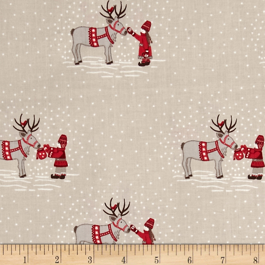 When I Met Santa's Reindeer Meeting the Reindeer Tan Fabric By The Yard by E. E. Schenck in USA