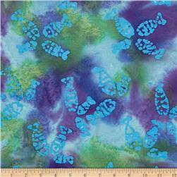 Indian Batik Sandy Hook Fish Aqua/Lime