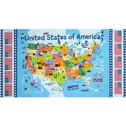 Timeless Treasures USA Map Panel Map Multi