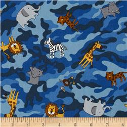 Kokka Jungle Animals Camo Blue