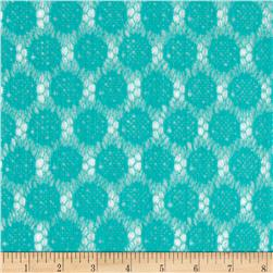 Nylon Crochet Circles Lace Teal Blue Fabric