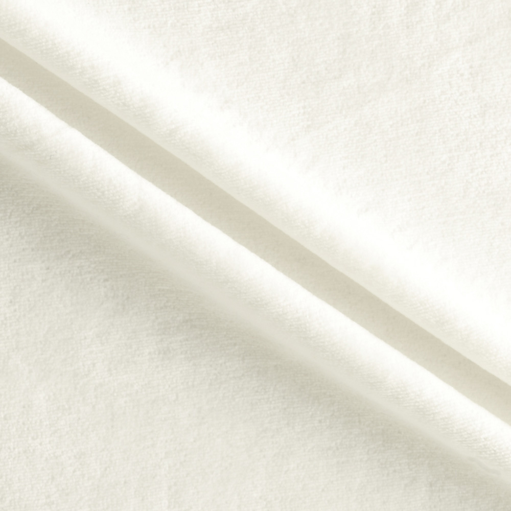 Cotton Blend Velour Cream Fabric