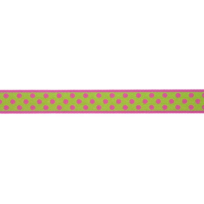 7/16'' Ribbon Polka Dot Hot Pink/Lime