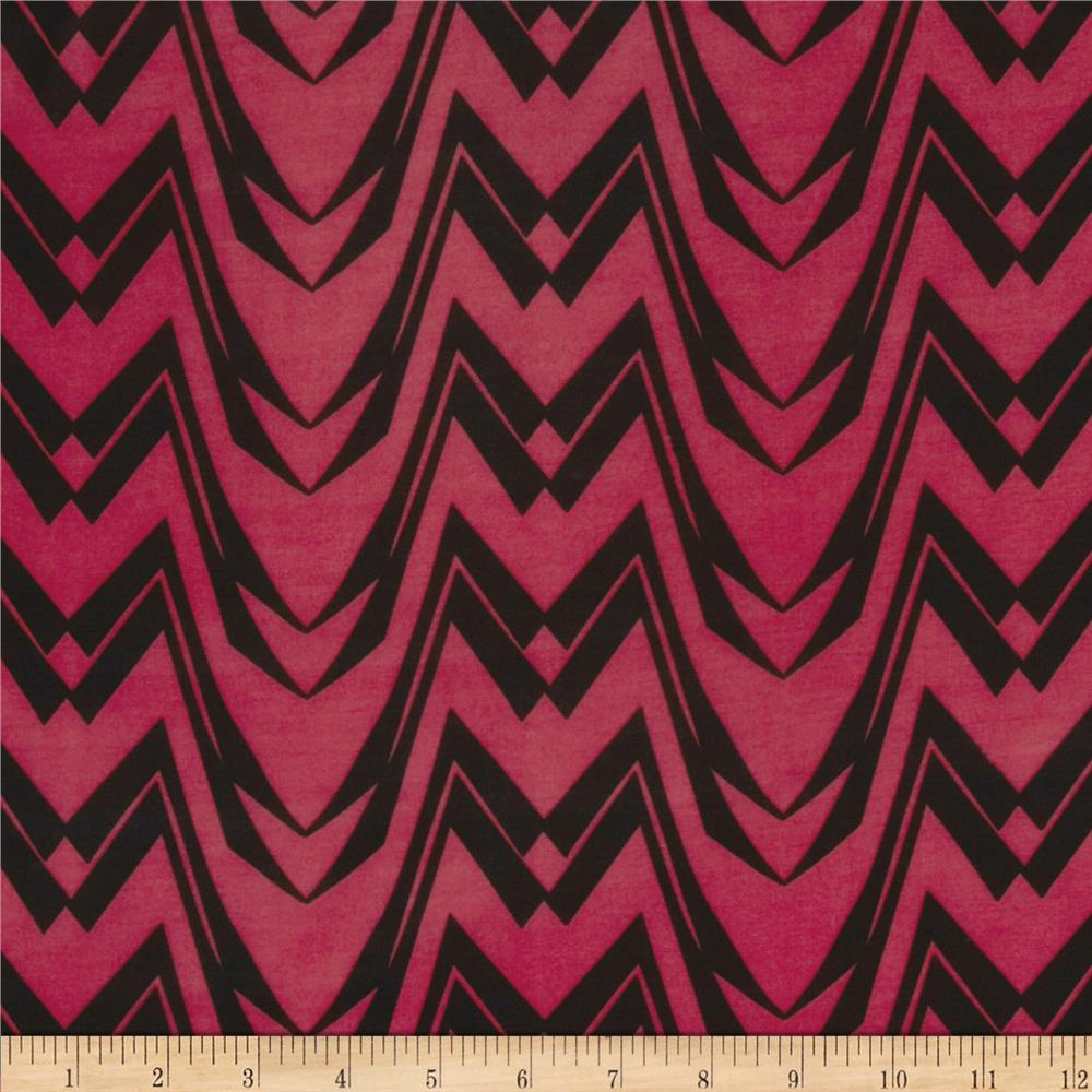 Chevron Stripe Jersey Knit Red/Black