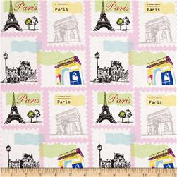 Riley Blake Pepe in Paris Stamp Pink Fabric