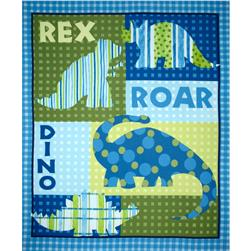 Dino Roars Flannel Quilt Panel Blue
