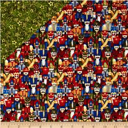 Nutcracker Christmas Nutcrackers Double-Sided Quilted Fabric Red