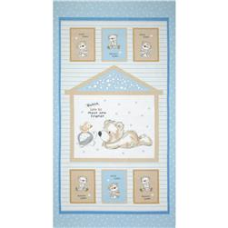 Bears and Buddies Flannel Panel Light Blue