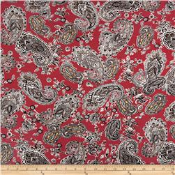 Rayon Spandex Jersey Knit Paisley Rust/Black/White Fabric