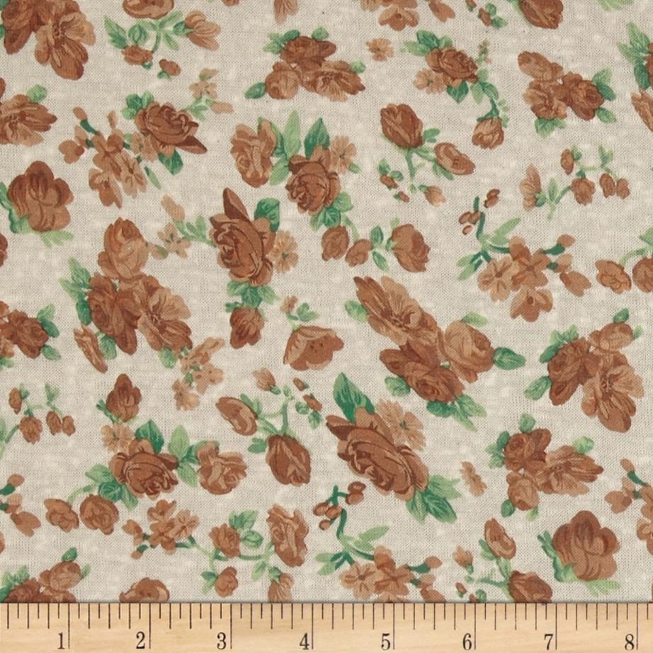 Stretch Polyester Slub Jersey Knit Floral Brown
