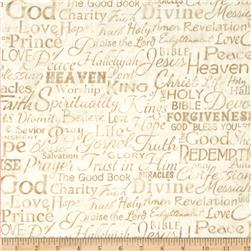 Timeless Treasures Religious Phrases Cream